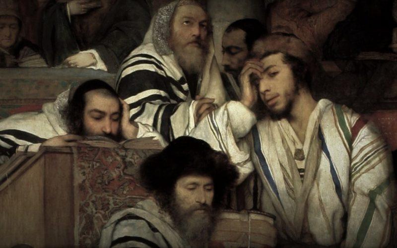 Maurycy Gottlieb - Jews Praying in the Synagogue on Yom Kippur - detail